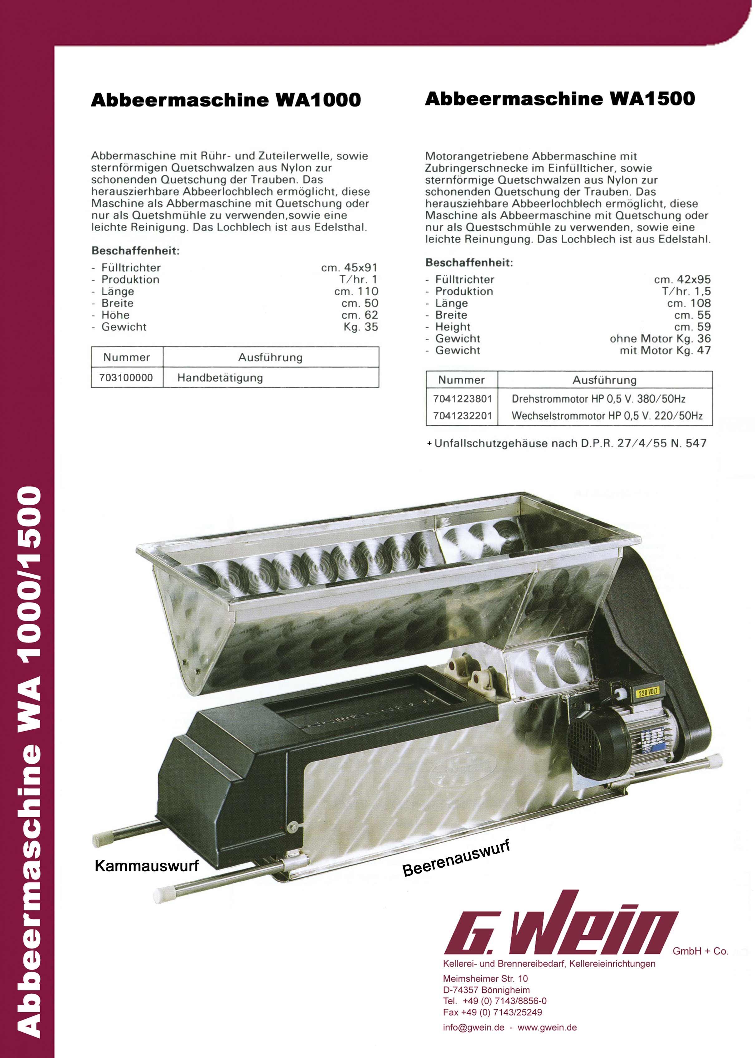 Produktbeschreibung WA1000/1500